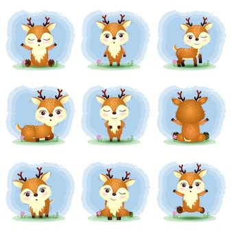 Cute deers collection in the children's style
