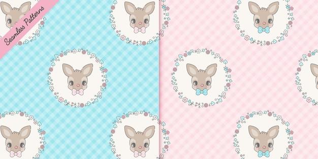 Cute deers and flowers seamless patterns set premium vector