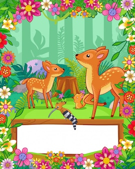 Cute deers with flowers and wood blank sign in the forest. vector