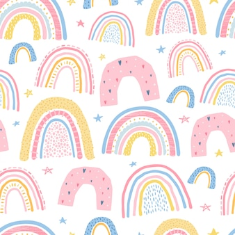 Cute, delicate seamless pattern with a rainbow. illustration for children's room design. vector