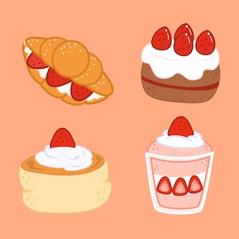 Cute and delicious cakes doodle illustration set