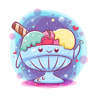 Cute delicious ice cream balls in glass bowl