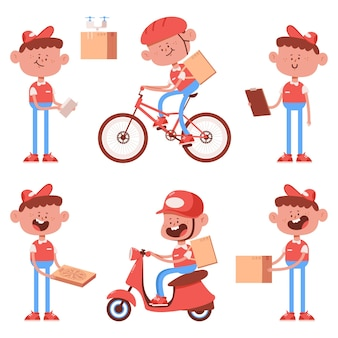 Cute delivery boy characters cartoon set isolated on a white background