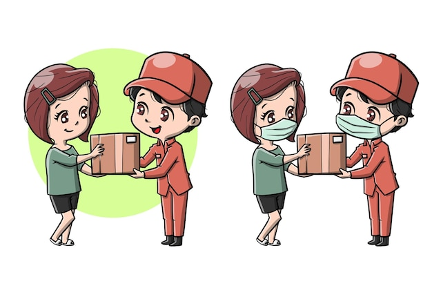 Cute delivery courier to customer cartoon