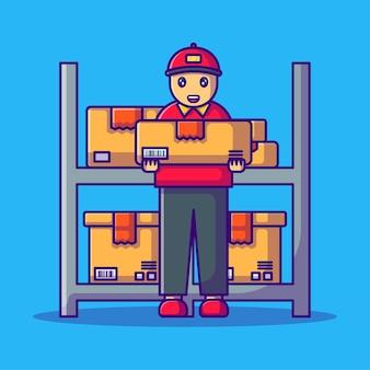 かわいい配達人と倉庫ボックス漫画イラスト