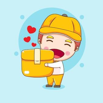 Милый посыльный персонаж держит пакет