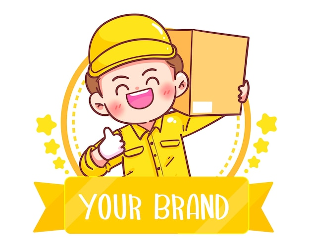 Cute delivery man logo