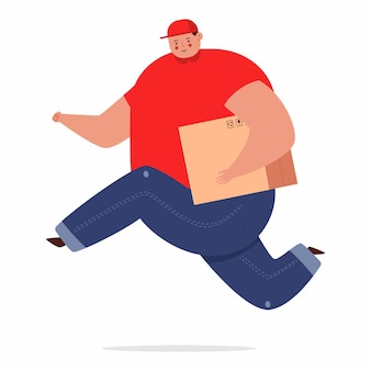 Cute delivery man vector cartoon character isolated on a white space.