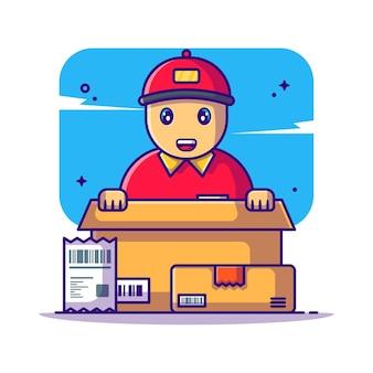 Милый доставщик с билл и коробки иллюстрации шаржа