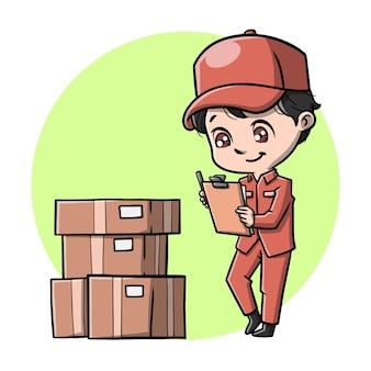 Милый посыльный со своим картонным мультфильмом