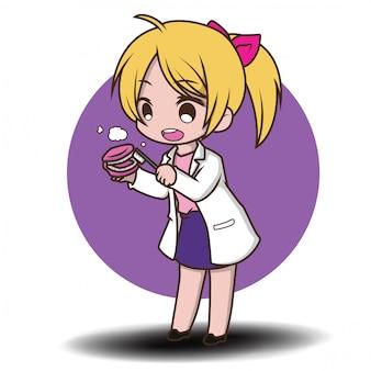 Cute dentist cartoon holding dentist tools