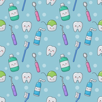 Cute dentist equipment seamless pattern kawaii style on blue