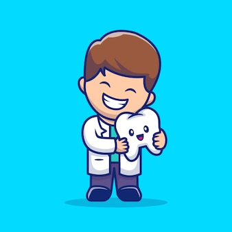 Cute dentist with tooth cartoon   icon illustration. dental health icon concept isolated  . flat cartoon style