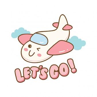 Cute design with kawaii airplane