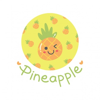 Cute design with kawaii pineapple