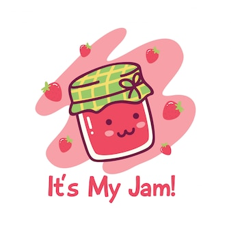 Cute design with kawaii strawberry jam
