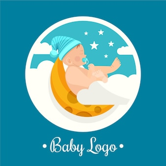 Cute detailed baby logo on moon