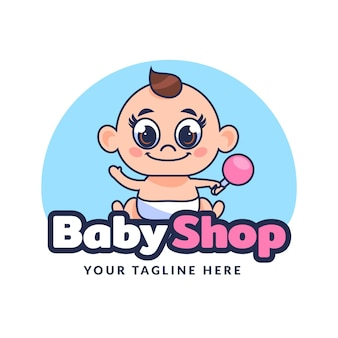 Cute detailed baby logo template
