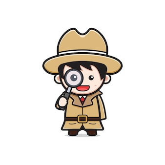 Cute detective holding a magnifying glass cartoon icon illustration. design isolated flat cartoon style