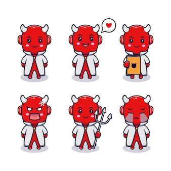 さまざまな表情のかわいい悪魔の少年は、漫画のベクトルアイコンイラストを設定します。ストーリーブック、チラシ、ステッカー、カードに適したフラット漫画スタイル