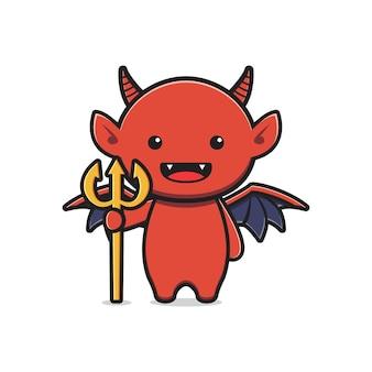 かわいい悪魔のマスコットハロウィン漫画アイコンイラスト。孤立したフラット漫画スタイルをデザインする