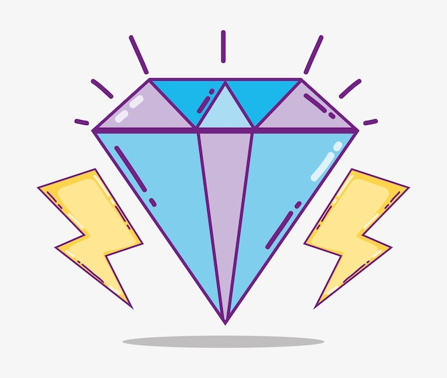 Cute diamond with rays cartoons vector illustration graphic design