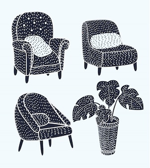 Cute different cats characters lying and resting on armchairs set of  illustrations