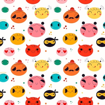 Cute different emoticons pattern
