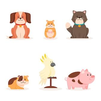 Collezione di simpatici animali diversi