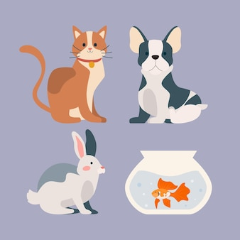 Cute different pets concept