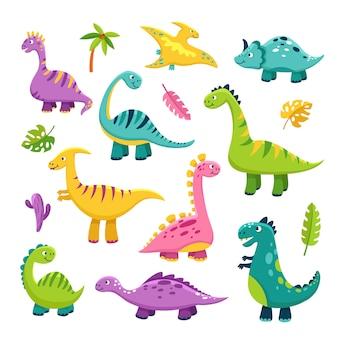 かわいい恐竜。漫画の赤ちゃん恐竜ステゴサウルスドラゴン子供先史時代の野生動物ブロントサウルス恐竜キャラクター
