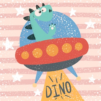 Cute dino character. ufo illustration.