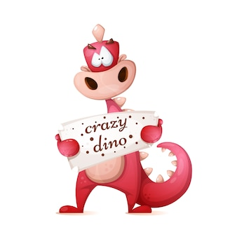 Cute dino characters. cartoon illustration