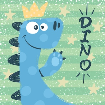 Cute dino characters. princess illustration