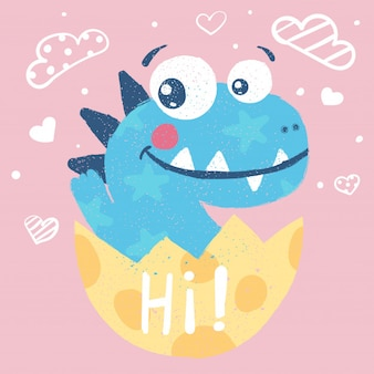 Cute dino, dinosaur illustration