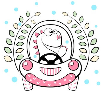 Cute dino drive funny car.