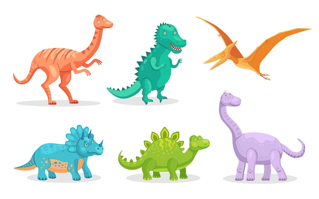 Cute dino flat icon set