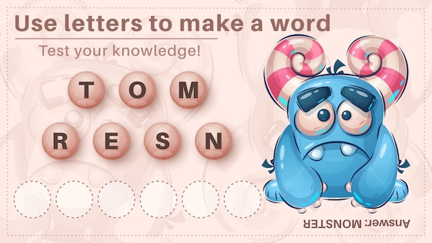 Cute dino - game for kids, make a word from letters