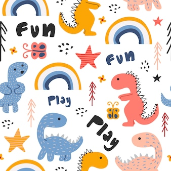 Cute dino hand drawn seamless pattern childish drawing colorful background