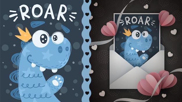 Cute dino - идея для поздравительной открытки