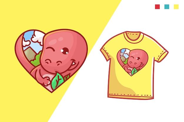 Милый динозавр любовь футболка шаблон дизайна
