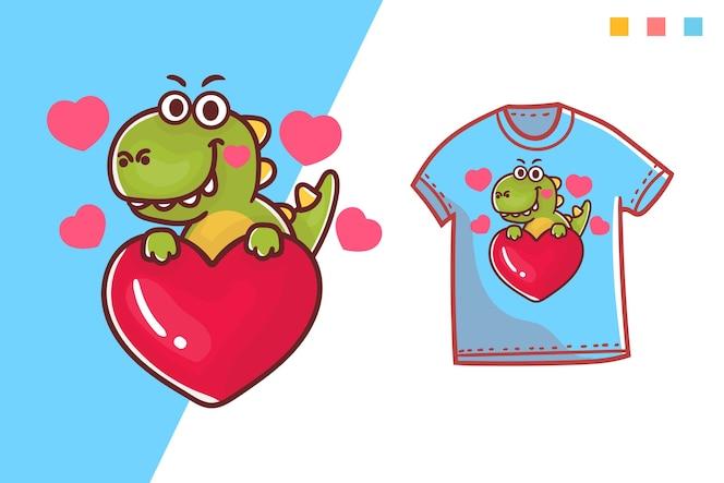 귀여운 디노 사랑 티셔츠 템플릿 디자인