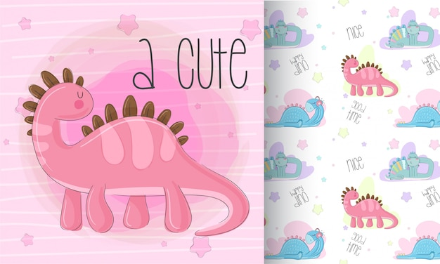 Cute dino pattern set  hand draw illustration