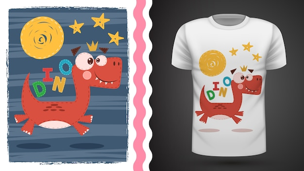 Cute dino for print t-shirt