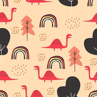 Cute dino seamless pattern for baby and kids