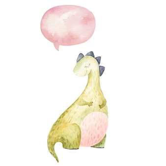 Милый динозавр спит и думает значок, облако, детская иллюстрация акварель