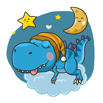 Cute dino sleeping on the moon isolated on white background.