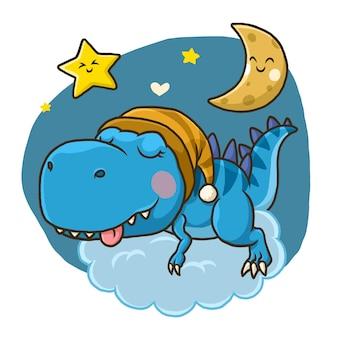 白い背景で隔離月に眠っているかわいい恐竜。