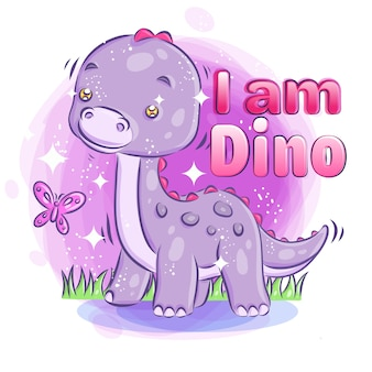 Cute dino smile with bright sparkling background.colorful cartoon illustration.