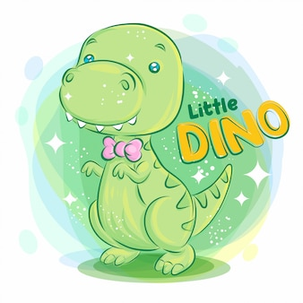 Cute dino smile with pink ribbon on the neck. colorful cartoon illustration.